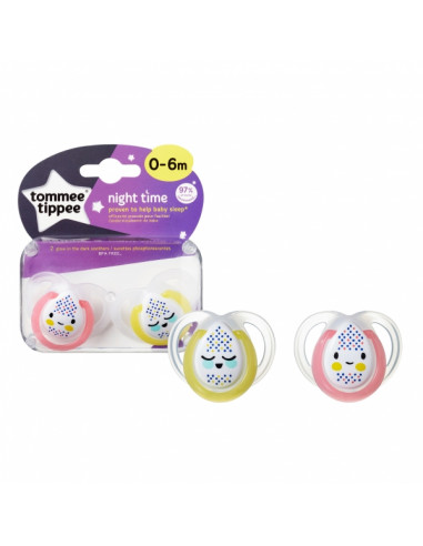 Tommee Tippee Chupete de silicona 0-6 m Night Time (2 u.)