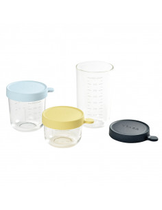 Beaba Set 3 Portions Recipientes vidrio Azul