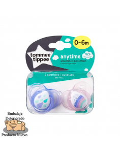Tommee Tippee Chupete de silicona 0-6 m AnyTime  (2 u.)