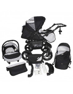Cochecito 3 en 1 Lirdo, carrito, porta-bebés, capazo y muchos accesorios