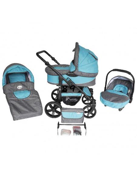 Trío cochecito 3 en 1 K2, carrito, porta-bebés, capazo y muchos accesorios