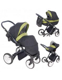 Cochecito 3 en 1 Lugo, carrito, porta-bebés y capazo, chasis negro