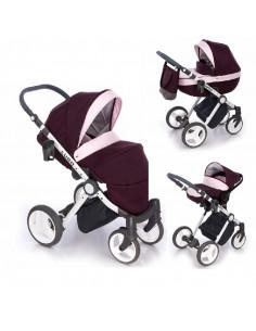 Cochecito 3 en 1 Lugo, carrito, porta-bebés y capazo, chasis blanco