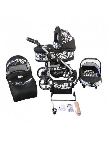 Trío cochecito 3 en 1 Hubi, carrito, porta-bebés, capazo y muchos accesorios